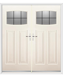 Newark French Rockdoor in Cream with Square Lead