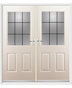 Windsor French Rockdoor in Cream with Square Lead