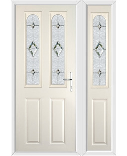The Aberdeen Composite Door in Cream with Crystal Diamond and matching Side Panel