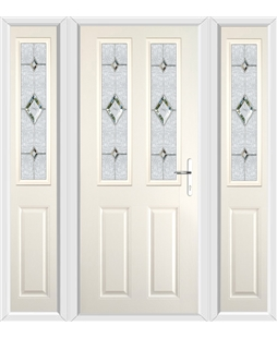 The Cardiff Composite Door in Cream with Crystal Diamond and matching Side Panels