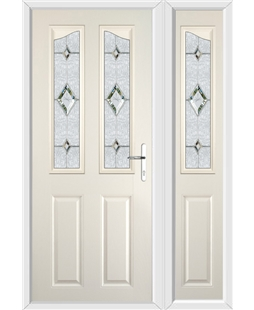 The Birmingham Composite Door in Cream with Crystal Diamond and matching Side Panel