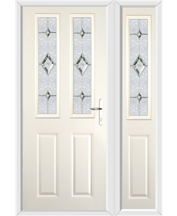 The Cardiff Composite Door in Cream with Crystal Diamond and matching Side Panel