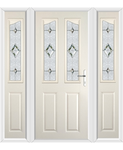 The Birmingham Composite Door in Cream with Crystal Diamond and matching Side Panels