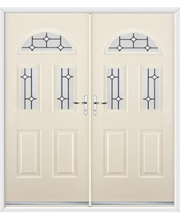 Tennessee French Rockdoor in Cream with White Diamonds