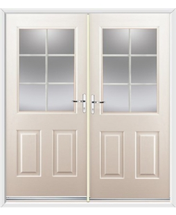 Windsor French Rockdoor in Cream with White Georgian Bar