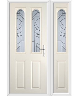 The Aberdeen Composite Door in Cream with Zinc Art Abstract and matching Side Panel