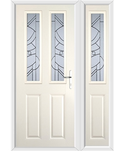 The Cardiff Composite Door in Cream with Zinc Art Abstract and matching Side Panel