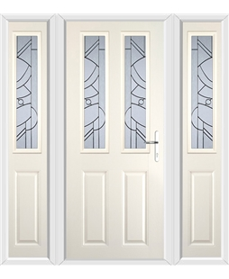 The Cardiff Composite Door in Cream with Zinc Art Abstract and matching Side Panels