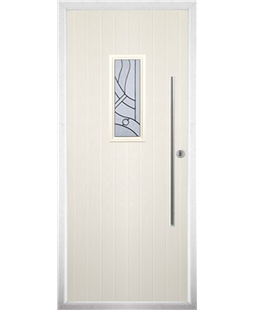 The Zetland Composite Door in Cream with Zinc Art Abstract