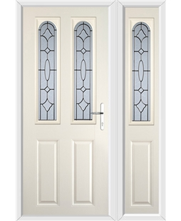 The Aberdeen Composite Door in Cream with Zinc Art Clarity and matching Side Panel