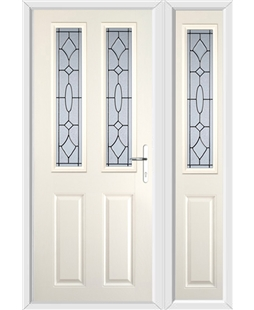 The Cardiff Composite Door in Cream with Zinc Art Clarity and matching Side Panel
