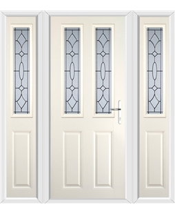 The Cardiff Composite Door in Cream with Zinc Art Clarity and matching Side Panels