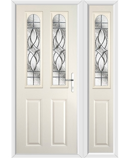 The Aberdeen Composite Door in Cream with Zinc Art Elegance and matching Side Panel