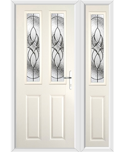 The Cardiff Composite Door in Cream with Zinc Art Elegance and matching Side Panel