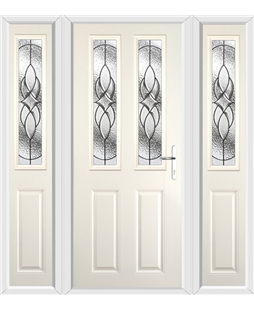 The Cardiff Composite Door in Cream with Zinc Art Elegance and matching Side Panels