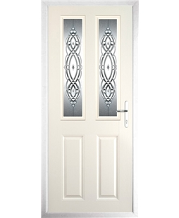 The Cardiff Composite Door in Cream with Reflections