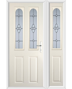 The Aberdeen Composite Door in Cream with Finesse Glazing and matching Side Panel