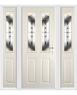 The Birmingham Composite Door in Cream with Fleur Glazing and matching Side Panels