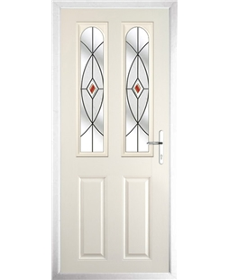 The Aberdeen Composite Door in Cream with Red Fusion Ellipse