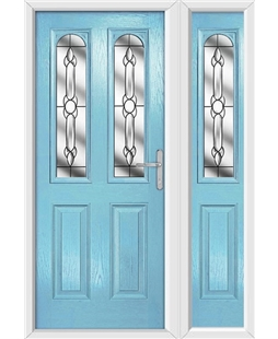 The Aberdeen Composite Door in Blue (Duck Egg) with Crystal Bohemia and matching Side Panel