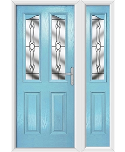 The Birmingham Composite Door in Blue (Duck Egg) with Crystal Bohemia and matching Side Panel