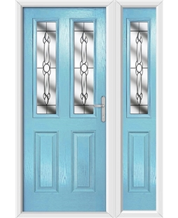 The Cardiff Composite Door in Blue (Duck Egg) with Crystal Bohemia and matching Side Panel