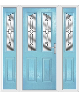 The Birmingham Composite Door in Blue (Duck Egg) with Crystal Bohemia and matching Side Panels