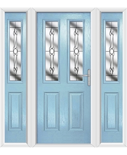 The Cardiff Composite Door in Blue (Duck Egg) with Crystal Bohemia and matching Side Panels