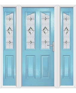 The Birmingham Composite Door in Blue (Duck Egg) with Crystal Diamond and matching Side Panels