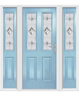 The Cardiff Composite Door in Blue (Duck Egg) with Crystal Diamond and matching Side Panels
