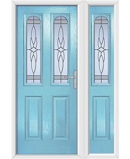 The Aberdeen Composite Door in Blue (Duck Egg) with Crystal Harmony Frost and matching Side Panel