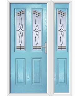 The Birmingham Composite Door in Blue (Duck Egg) with Crystal Harmony Frost and matching Side Panel