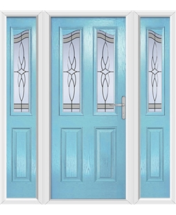 The Birmingham Composite Door in Blue (Duck Egg) with Crystal Harmony Frost and matching Side Panels