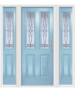 The Cardiff Composite Door in Blue (Duck Egg) with Crystal Harmony Frost and matching Side Panels