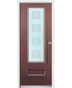 Ultimate Vogue Rockdoor in Rosewood with Cube Glazing and Bar Handle