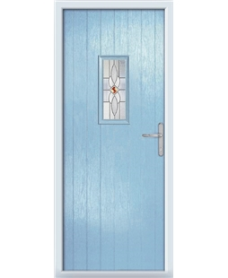 The Taunton Composite Door in Blue (Duck Egg) with Daventry Red