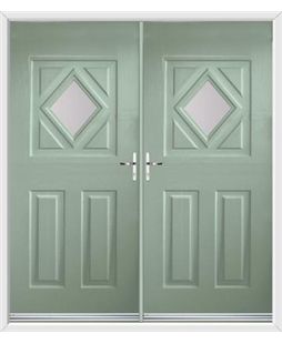 Diamond French Rockdoor in Chartwell Green with Glazing