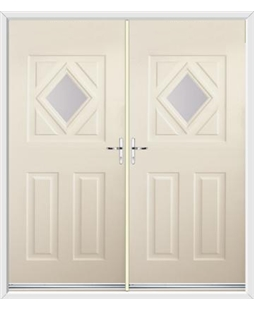 Diamond French Rockdoor in Cream with Glazing