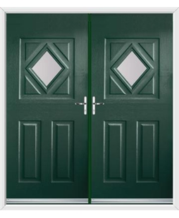 Diamond French Rockdoor in Emerald Green with Glazing