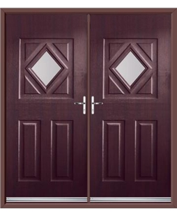 Diamond French Rockdoor in Rosewood with Glazing