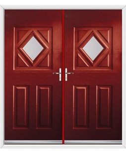 Diamond French Rockdoor in Ruby Red with Glazing