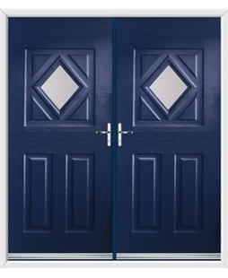 Diamond French Rockdoor in Sapphire Blue with Glazing