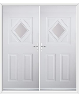 Diamond French Rockdoor in White with Glazing