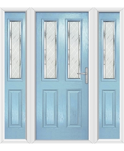 The Cardiff Composite Door in Blue (Duck Egg) with Diamond Cut and matching Side Panels