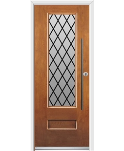 Ultimate Vogue Rockdoor in Light Oak with Diamond Lead and Bar Handle