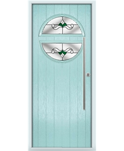 The Xenia Composite Door in Blue (Duck Egg) with Green Crystal Bohemia