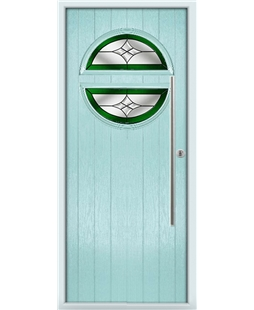 The Xenia Composite Door in Blue (Duck Egg) with Green Crystal Harmony