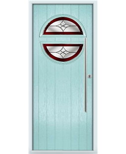 The Xenia Composite Door in Blue (Duck Egg) with Red Crystal Harmony