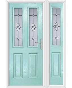 The Cardiff Composite Door in Blue (Duck Egg) with Finesse Glazing and matching Side Panel