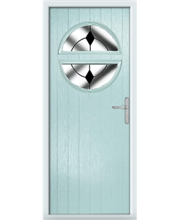 The Queensbury Composite Door in Blue (Duck Egg) with Black Diamonds